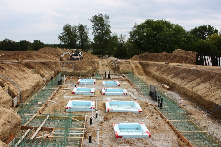 Building Footings and Structural Colum Pads are ready to Pour Concrete