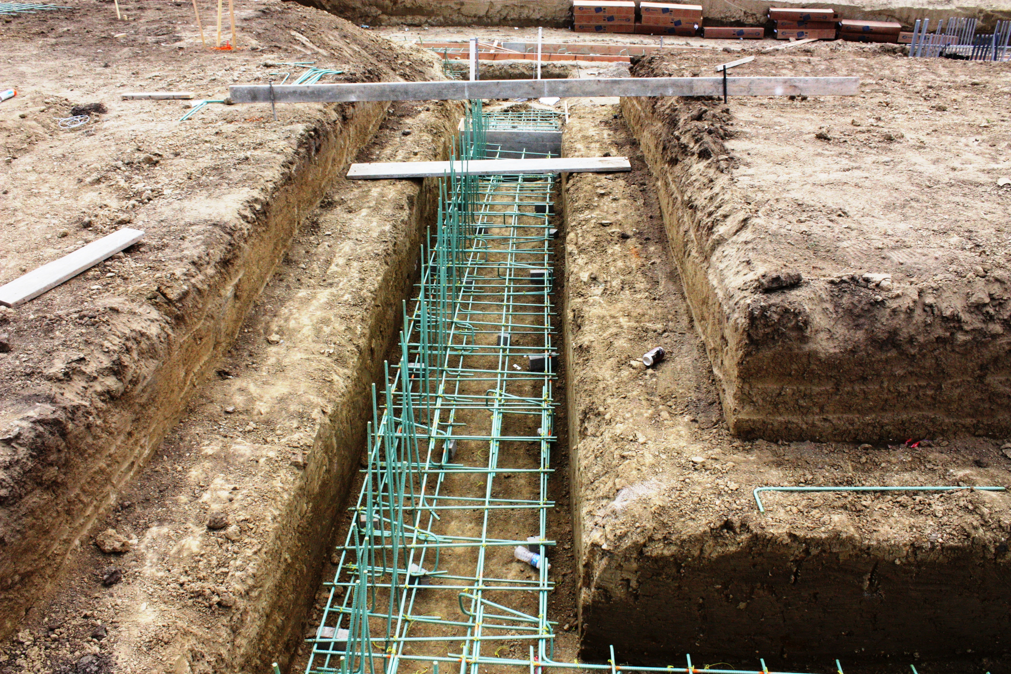 Garage North Wall Footings and Stem Wall Rebar is Installed