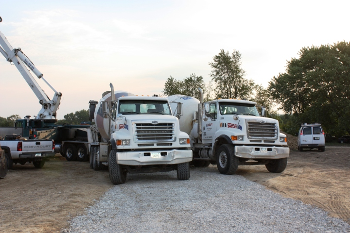 Full Revolution Farm First Pair of Concrete Trucks load the Pumping Truck